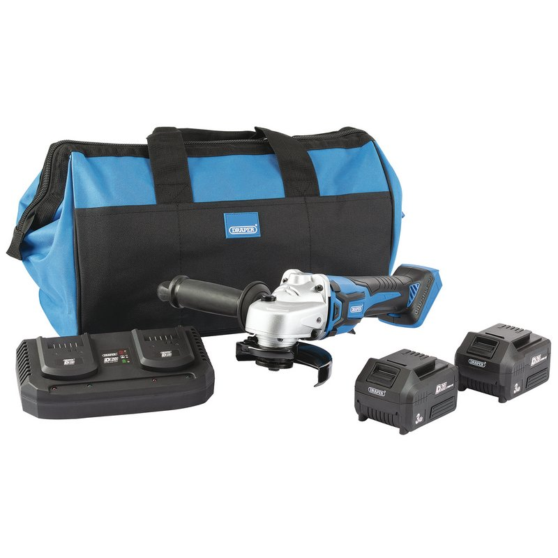 D20 20V 115mm Brushless Grinder Kit (2x 3Ah Batteries, Twin Charger and Bag)