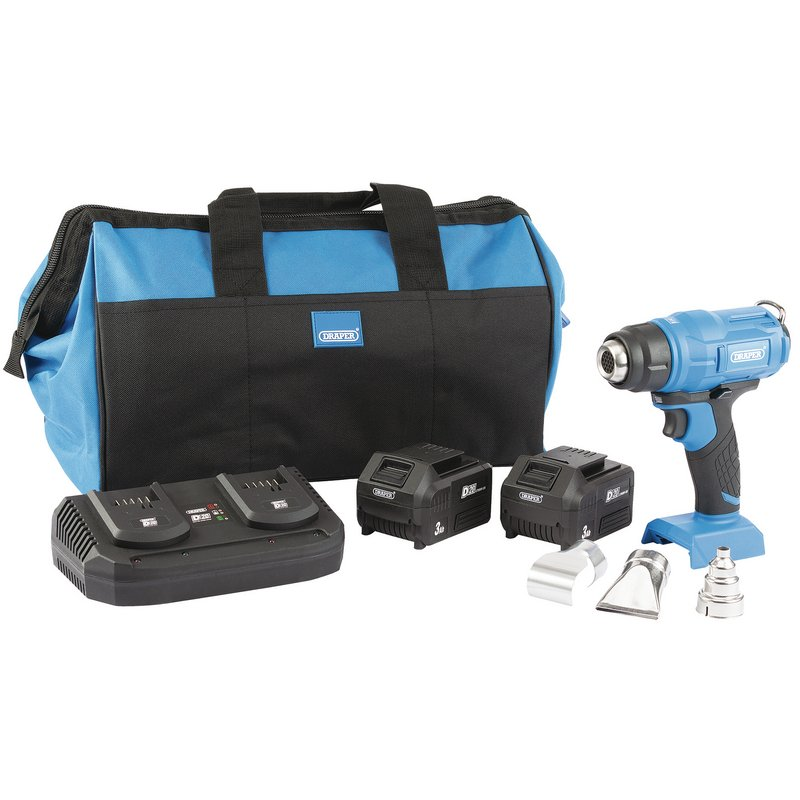 D20 20V Heat Gun Kit c/w 2 x 3Ah Batteries