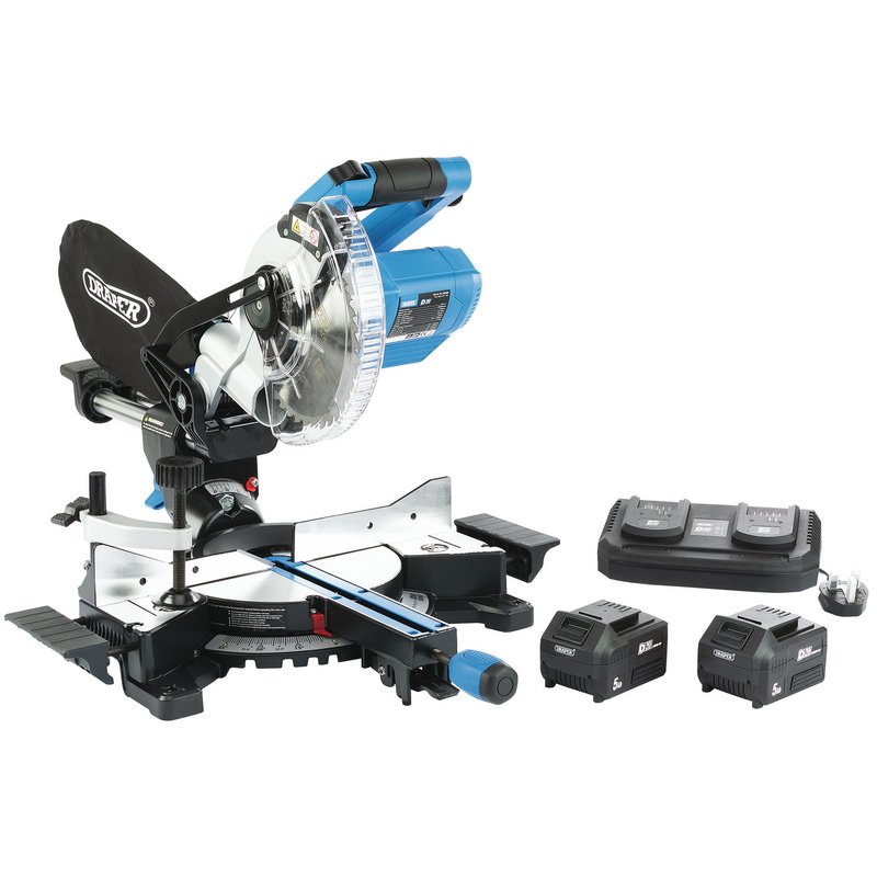 D20 20V Brushless 185mm Sliding Compound Mitre Saw Kit (Twin Charger)