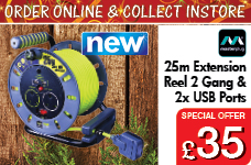 25M 13A 2 Gang + 2 x USB Port Extension Reel – Now Only £35.00