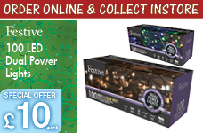 100 dual power lights with green cable  -  – Now Only £10.00