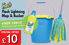 Flash Lightning Mop & Bucket wit hFree 500ml All Purpose Clean & Shine – Now Only £10.00