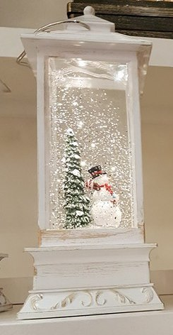 White Water filled lantern with warm white LED - Snowman – Now Only £20.00