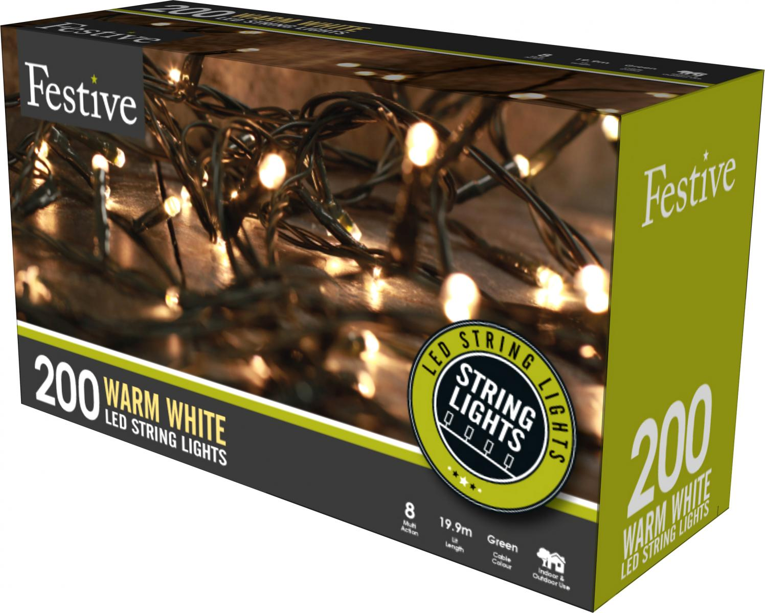 200lv LED lights with 8 multifunction controller with timer - Warm White – Now Only £15.00