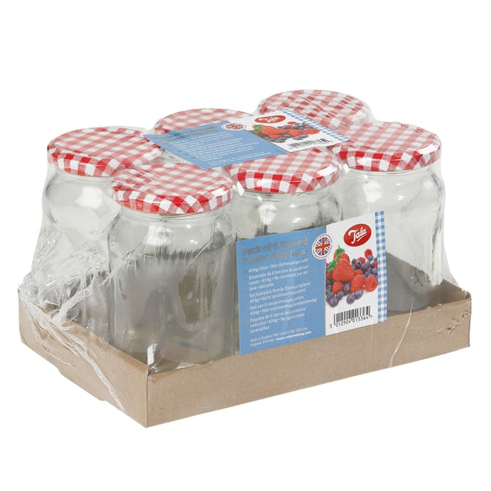 Pack of 6 1lb Jars with Gingham Screw Lid – Now Only £6.00