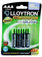 Rechargeable AAA Batteries - 4 pack  – Now Only £4.00