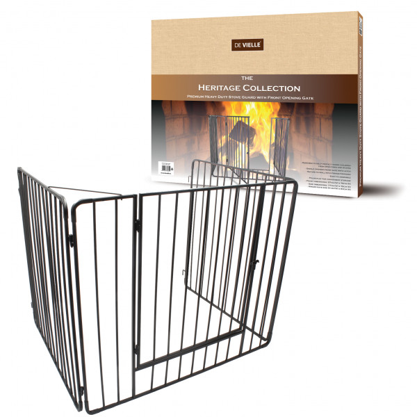 Heritage Premium Stove Guard with Gate Black – Now Only £59.00