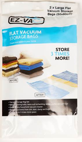 EZ-Vac 2 pc Jumbo Vacuum  Bag Set 75 x 105cm – Now Only £3.00