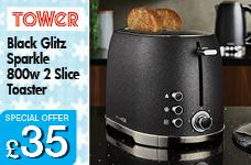 2 Slice Toaster Black Glitz Sparkle 800w – Now Only £35.00