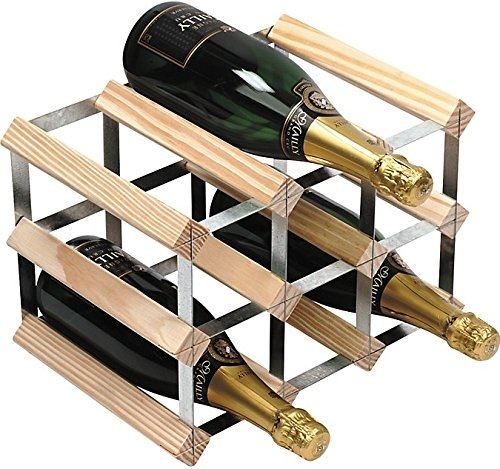 9 Bottle 3 x 2 Natural Pine and Galvanised Steel Wine Rack - Assembled – Now Only £15.00
