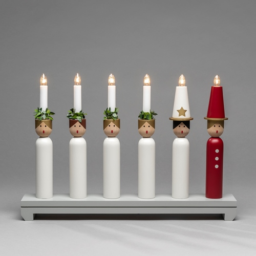NEW Candlestick in White and Grey Laquered Wood 230v – Now Only £45.00