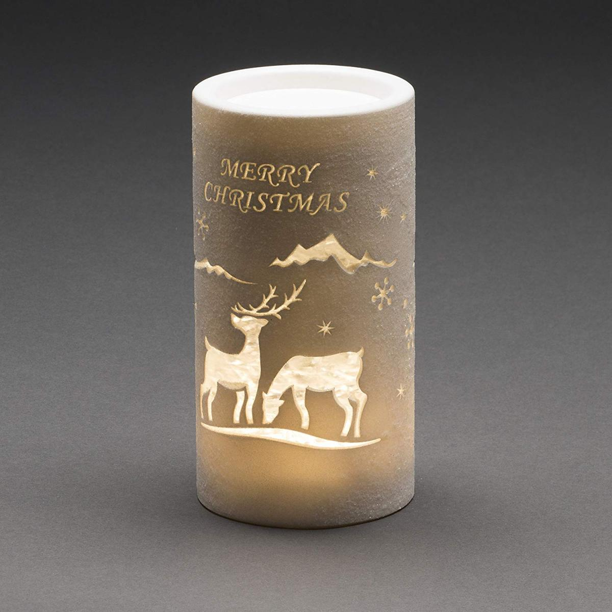Water Filled Cylinder Lantern with Merry Christmas and Reindeer – Now Only £17.00