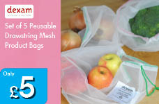 Set of 5 Reusable Drawstring Mesh Product Bags – Now Only £5.00